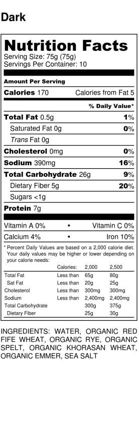 Dark - Nutrition Label
